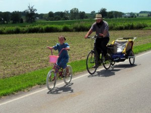 It is common for Amish families to bike into town