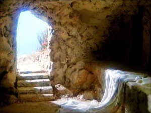 Artist depiction of empty tomb on resurrection day
